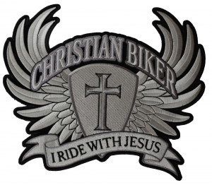 Large Christian Biker Back Patch I Ride With Jesus  17e380e91