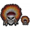 Native Indian Head Dress Skull 2 Piece Front And Back Embroidered Patch Set