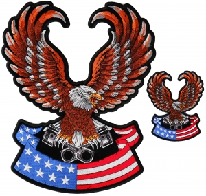 """Vtg Iron On Patch MOTORCYCLE Embroidered BIKER Vest 5"""" Jacket Eagle Flag USA"""