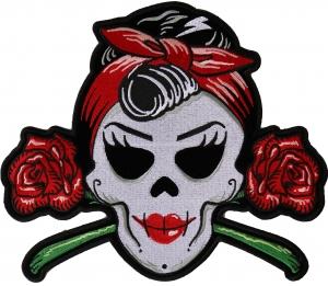 "Rockabilly Live Love Ride Sugar Skull Tattoo Biker Big Embroider Back Patch 9.7/"""