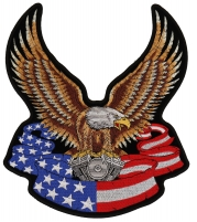 Eagle On American Flag Banner And Engine Patch Large   Embroidered Biker Patches