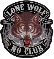Lone Wolf No Club New Patch   Embroidered Biker Patches