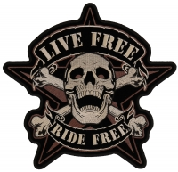 Live Free Ride Free Sherriff Star Patch Large   Embroidered Biker Patches