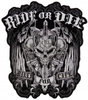 Ride Or Die Biker For Life Skull Vest Patch Large   Embroidered Biker Patches