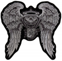 Angel Wings And Engine Patch   Embroidered Biker Patches