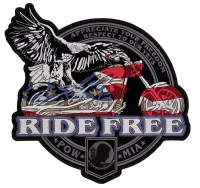Ride Free American Eagle Biker Vest Patch   US Military Veteran Patches