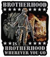 Brotherhood Biker Veteran Large Patch   US Military Veteran Patches