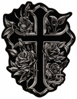 Cross Silver Roses Patch For Christian Riders   Embroidered Patches