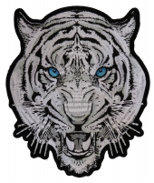 White Tiger Blue Eyes Patch   Embroidered Patches