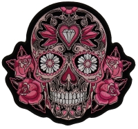 Pink Roses Sugar Skull Patch   Embroidered Patches