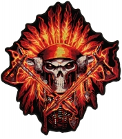 Firefighter Skull Native Large Back Patch   Embroidered Patches