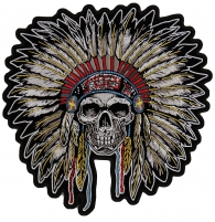Indian Head Dress Skull Patch Front Shot   Embroidered Patches
