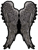 Black And White Angel Wings Of Feathers Patch   Embroidered Patches