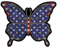 American Flag Color Butterfly Large Back Patch   Embroidered Patches