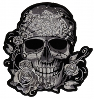 Gray Bandana Skull Patch With Roses And Rhinestones   Embroidered Patches