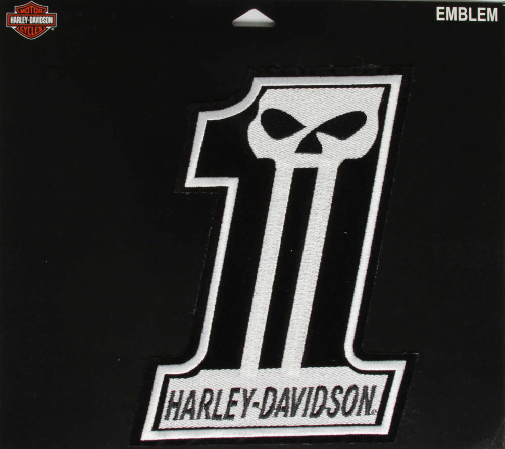 harley davidson 1 skull patch large the cheap place. Black Bedroom Furniture Sets. Home Design Ideas