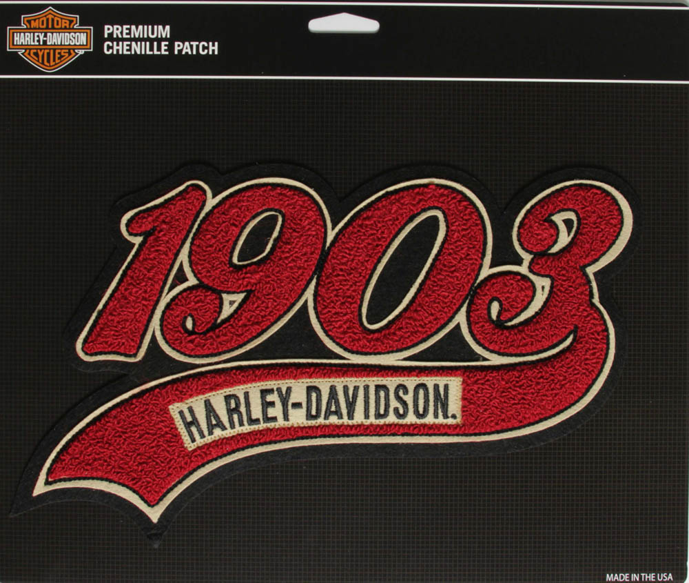 harley davidson 1903 chenille patch large the cheap place. Black Bedroom Furniture Sets. Home Design Ideas