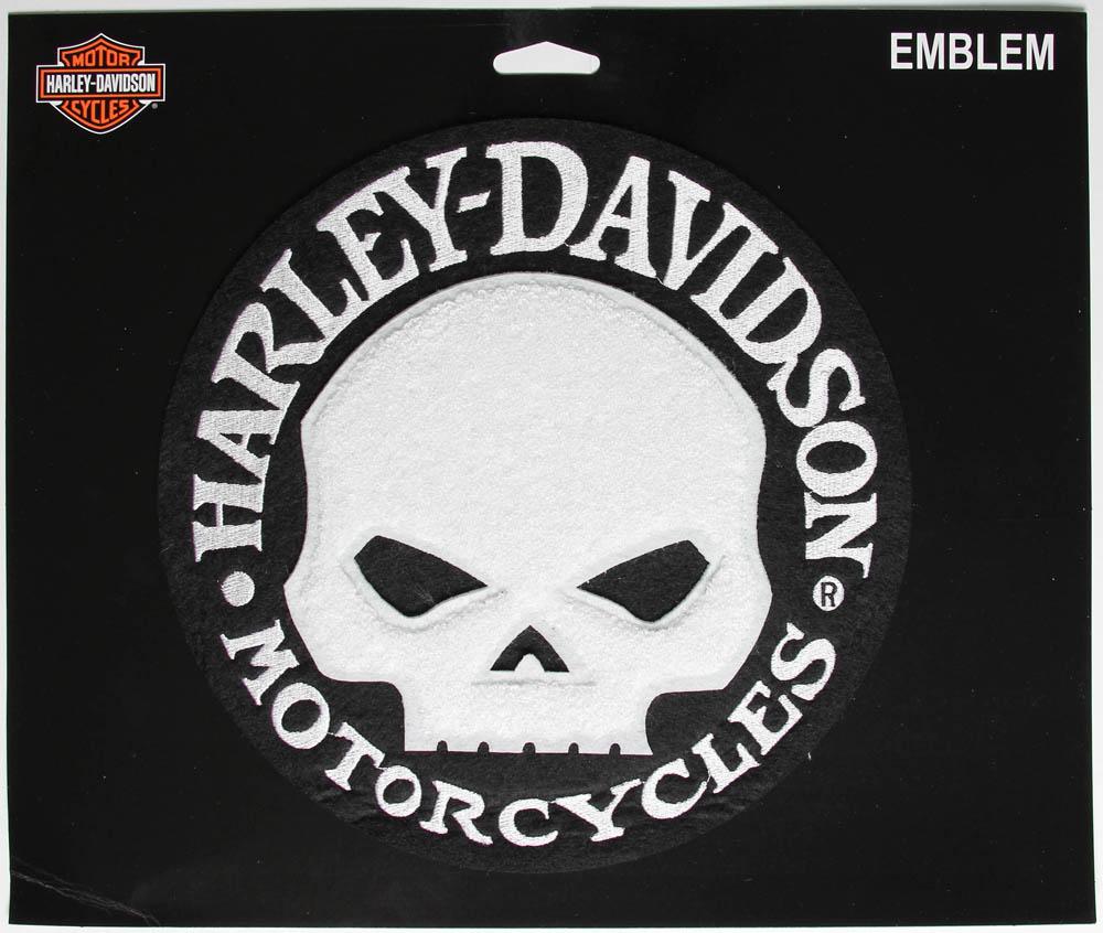harley davidson chenille white skull large biker patch. Black Bedroom Furniture Sets. Home Design Ideas