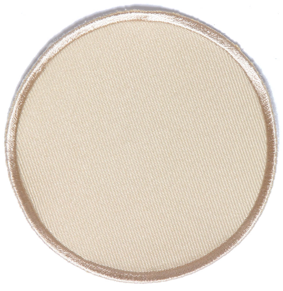 Beige inch round blank patch embroidered