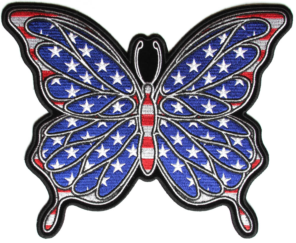 American flag color butterfly large back patch patriotic