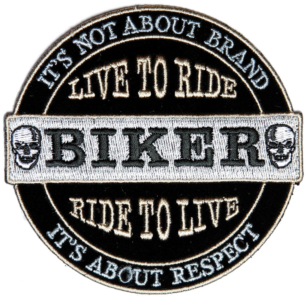 it 39 s not about brand it 39 s about respect biker patch small biker patches thecheapplace. Black Bedroom Furniture Sets. Home Design Ideas