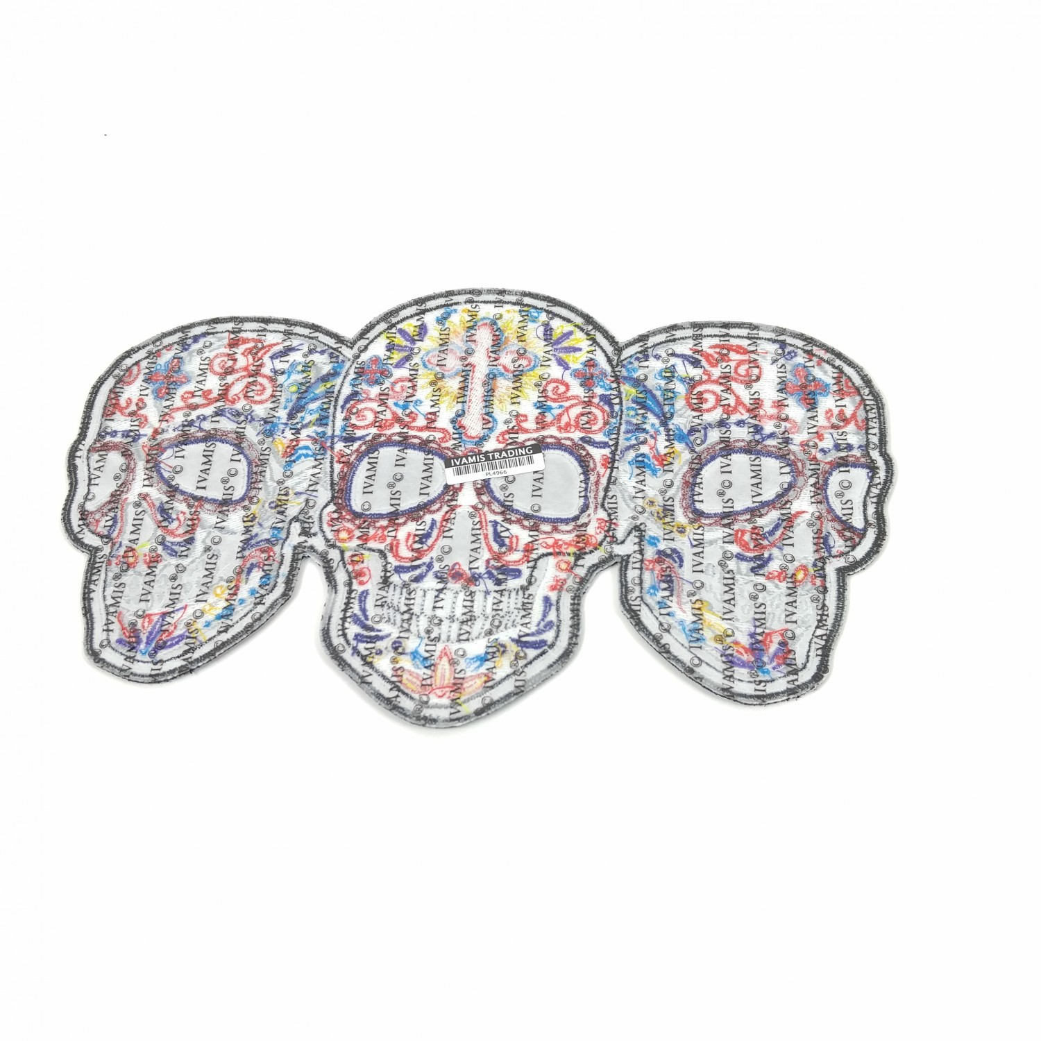 3 Sugar Skulls Large Back PATCH   Skull Patches -TheCheapPlace
