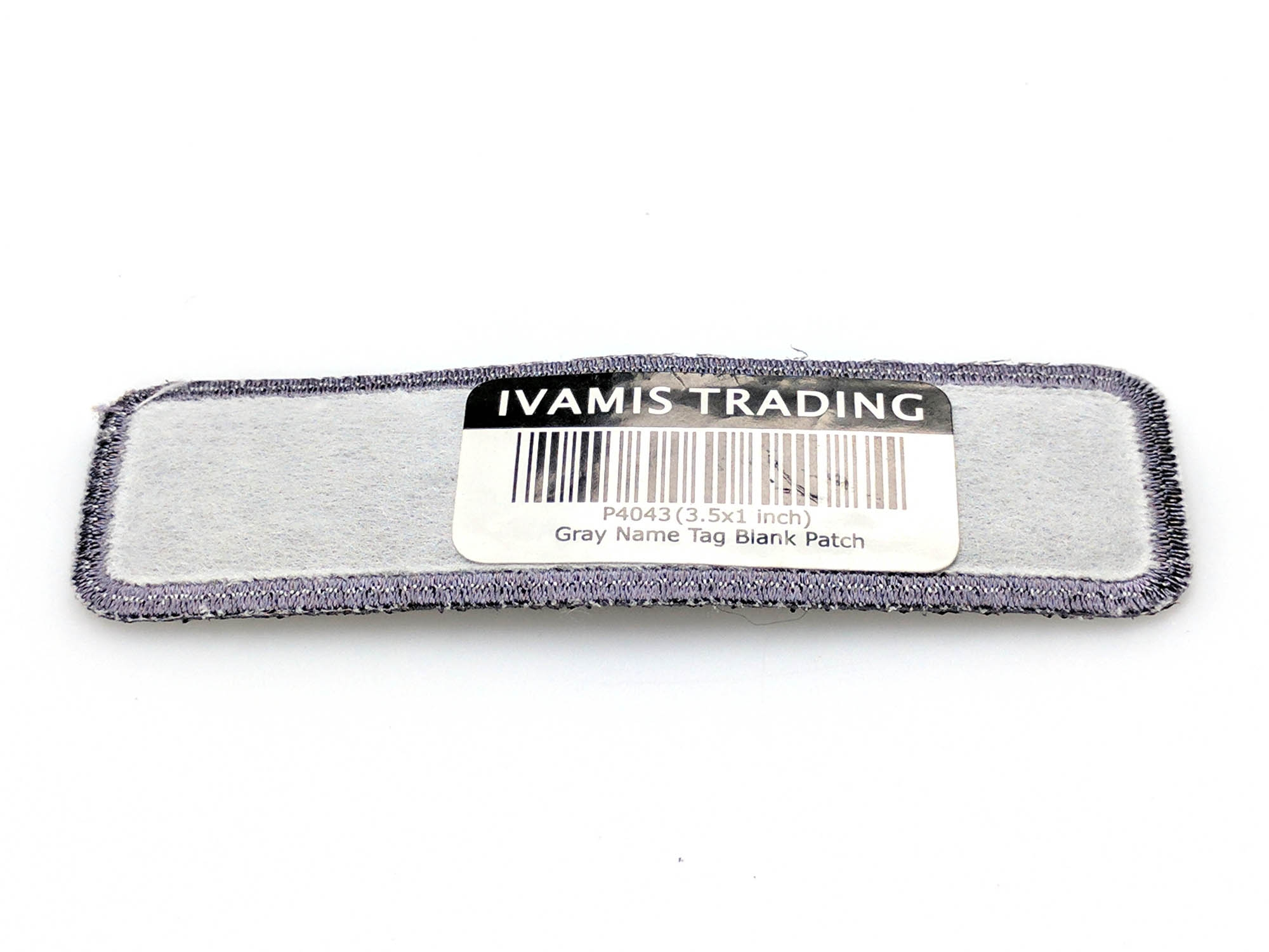 Gray name tag blank patch embroidered