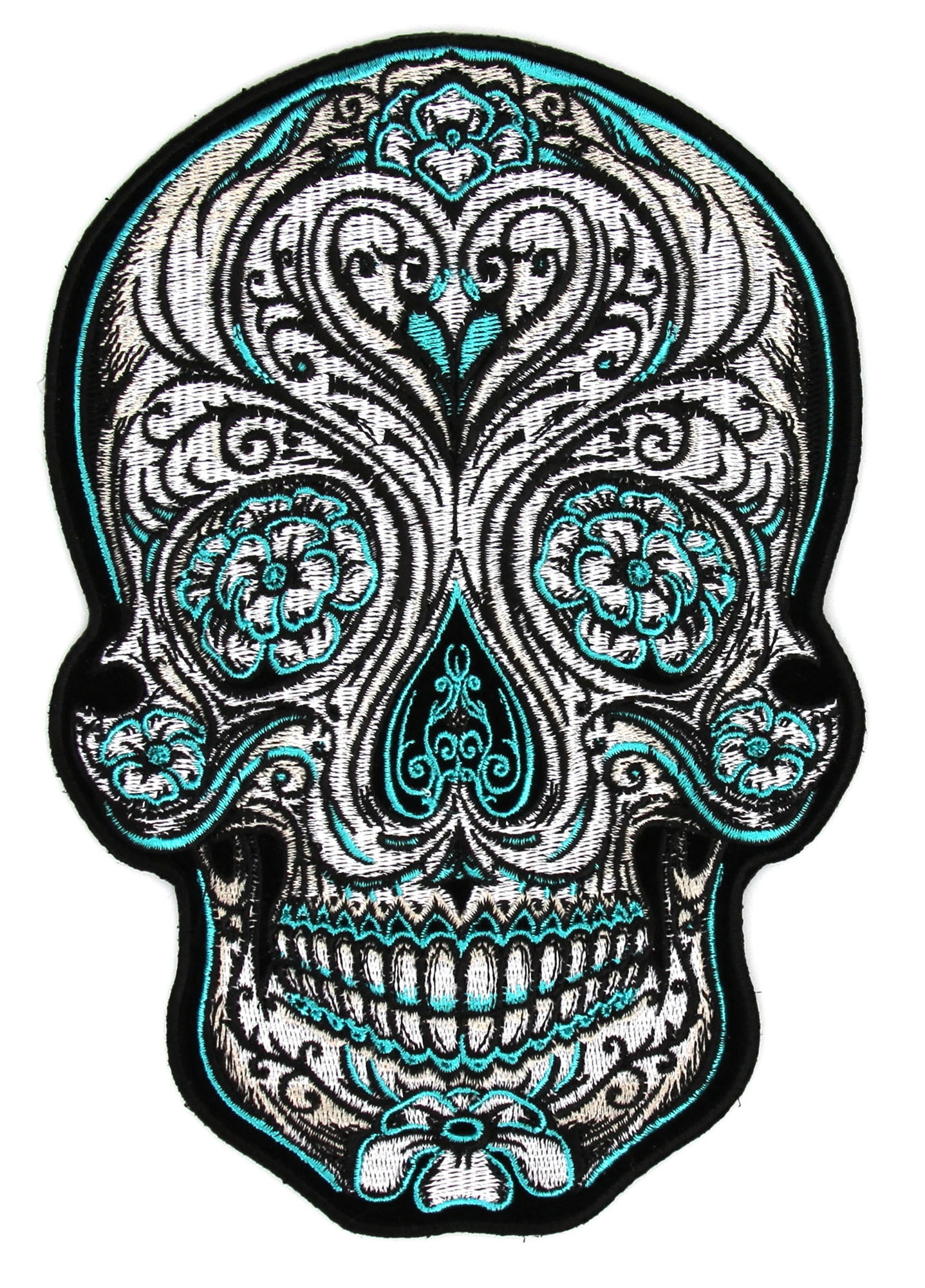 Turquoise Sugar Skull Large Back Patch