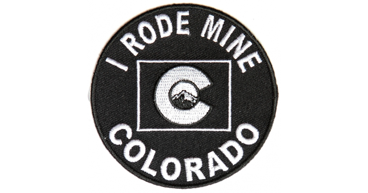 i rode mine to colorado biker patch biker patches thecheapplace. Black Bedroom Furniture Sets. Home Design Ideas