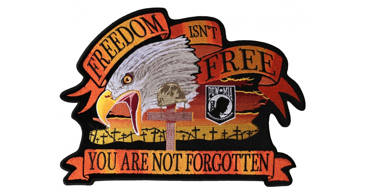MILITARY IRON ON PATCH POW MIA YOU ARE NOT FORGOTTEN RED
