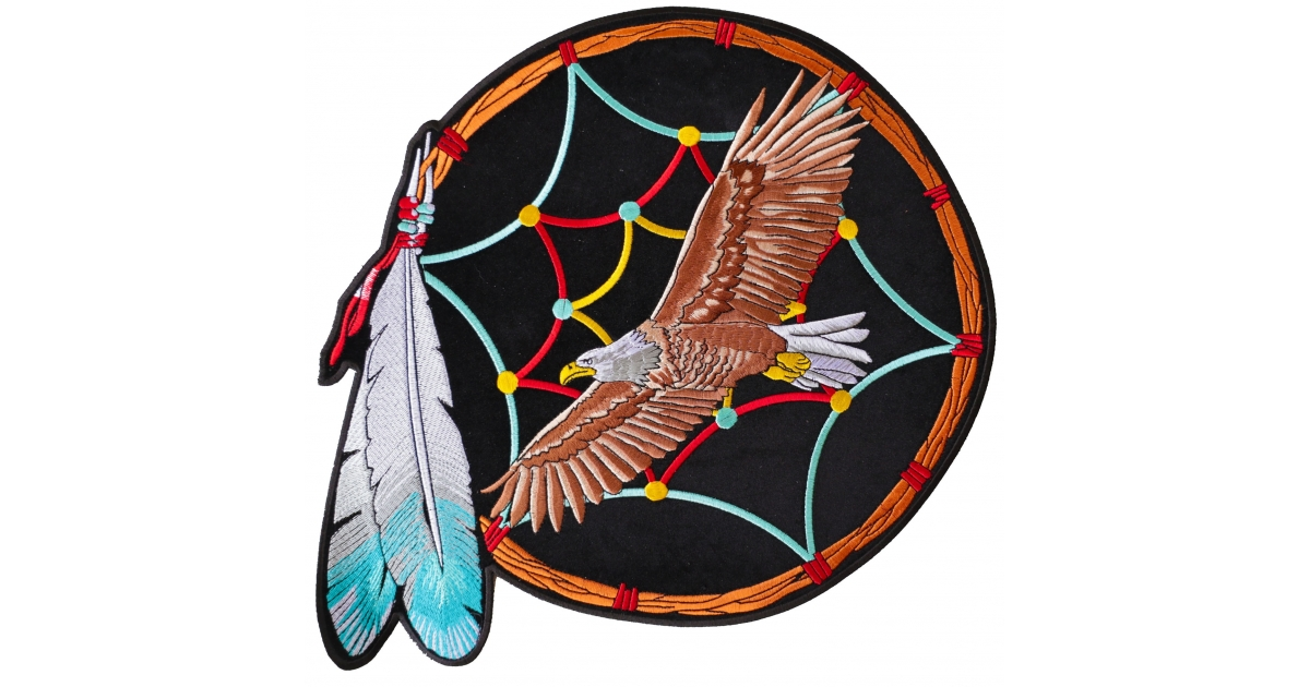 Native Indian Dream Catcher With Feather And Eagle Biker Patch