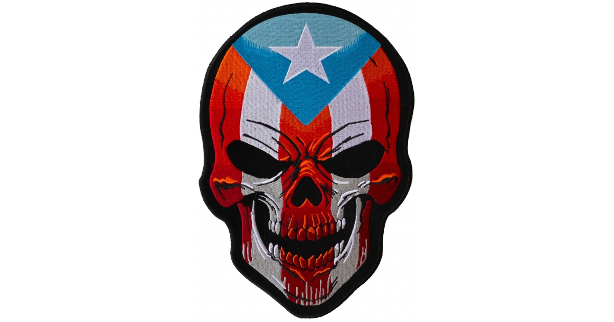 puerto rican skull large back patch