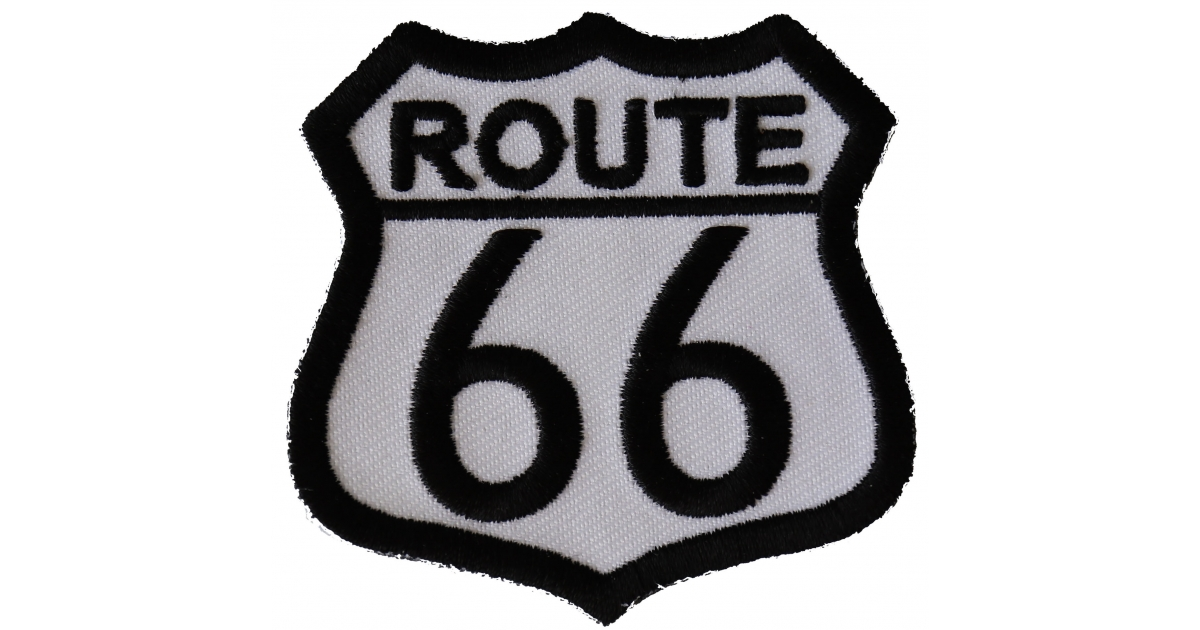 Embroidered Route 69 Black on White Sew or Iron on Patch Biker Patch
