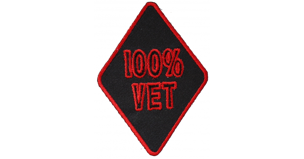 Embroidered 100 Percent Vet 100 Percent Biker Sew or Iron on Patch Biker Patch