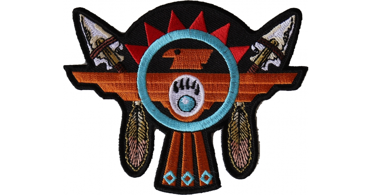 Native American Indian Design Patch Iron On Embroidered New Southwest Gold