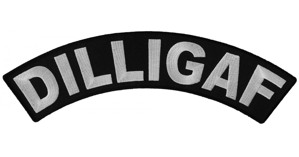 Biker Patches DILLIGAF Black /& White Rocker Patch
