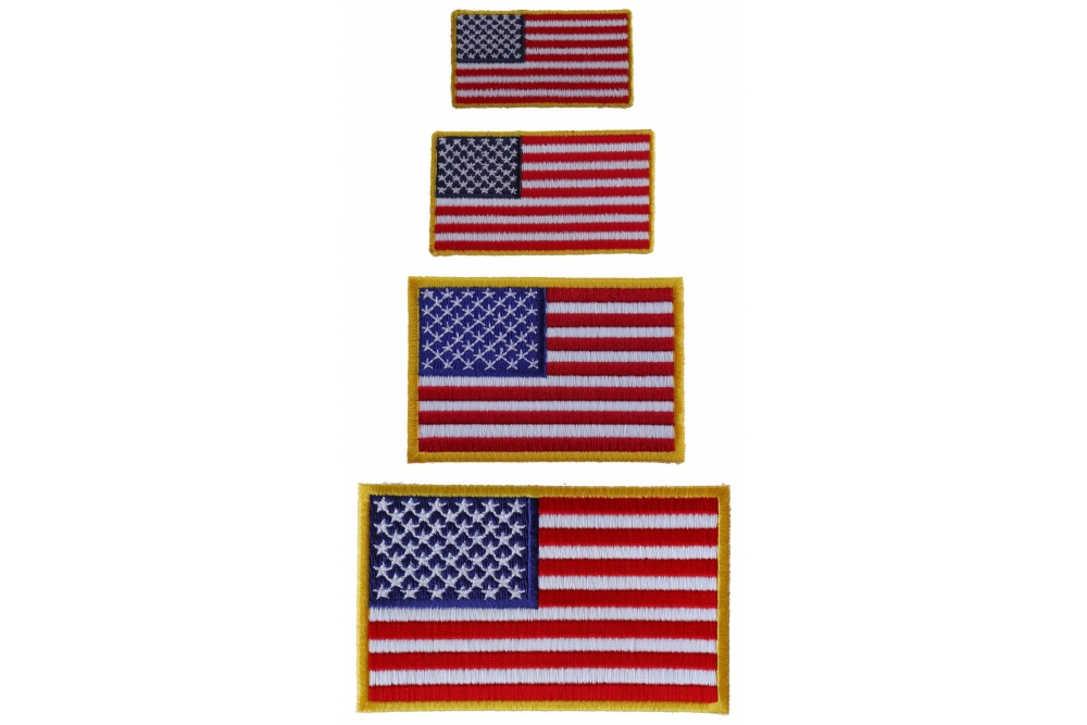 AMERICAN USA ROUND FLAG EMBROIDERED PATCH iron-on WHITE BORDER USA