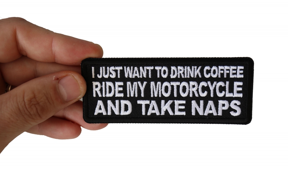Motorcycle Biker Morale Vest Patch Coffee DRUNK