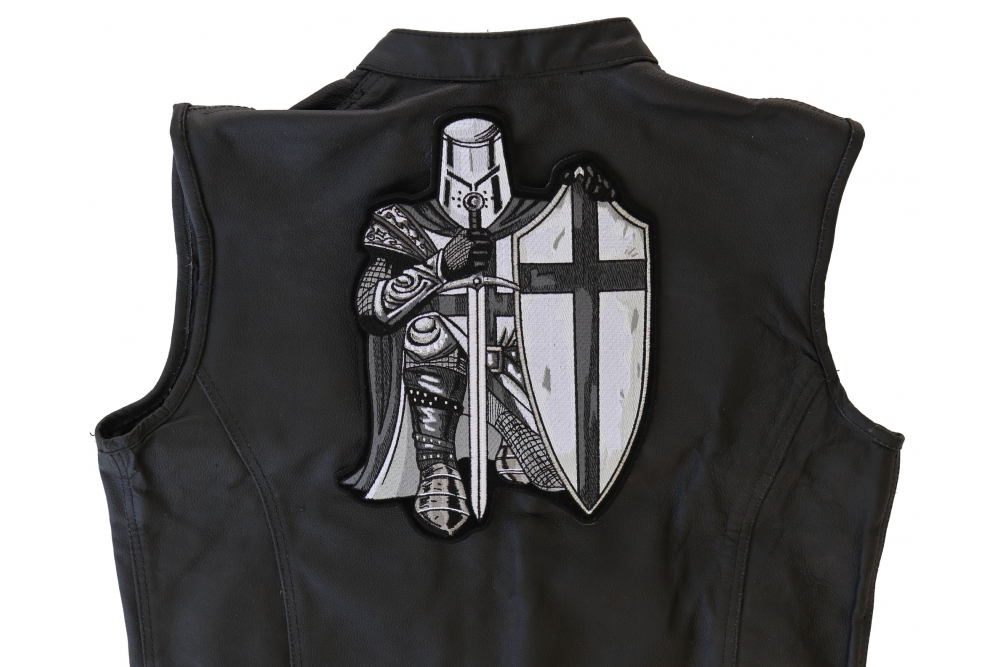50e76b451c6 Crusader Kneeling Knight Black White Large Back Patch