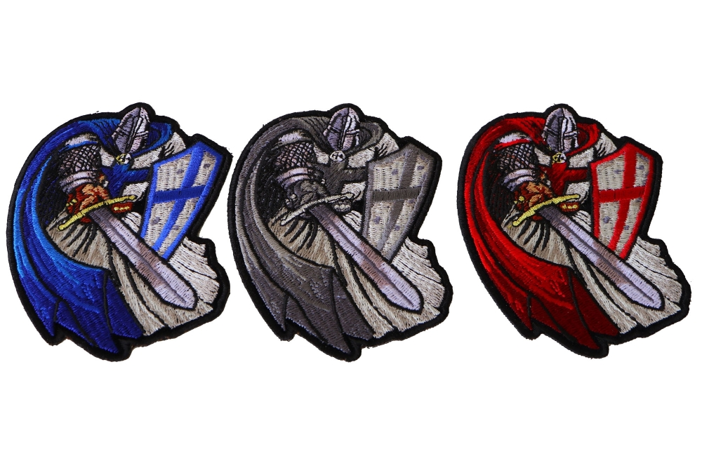4b8bdb2dd97 Blue Red and Gray Cape Crusader Knights Templar Small Iron on Patches
