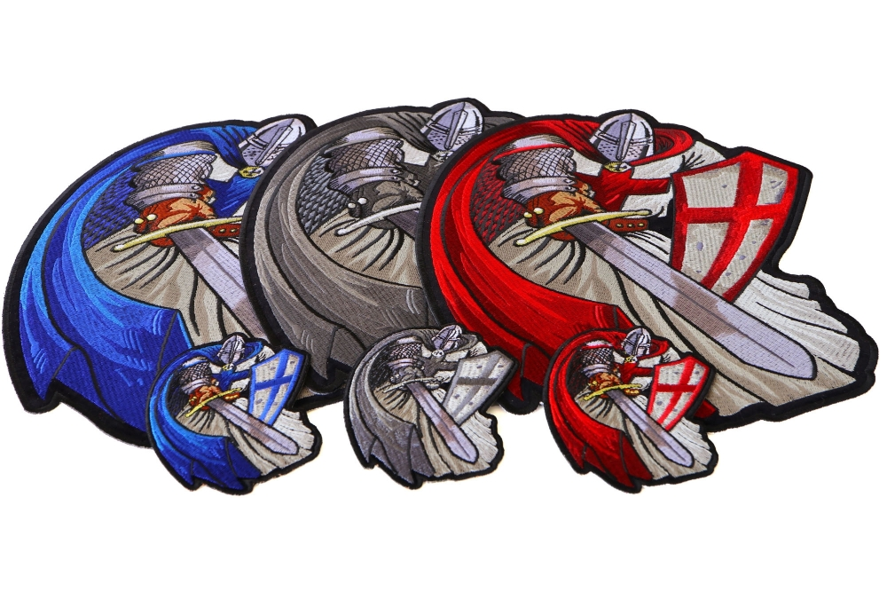 cf453a95e12 Crusader Knights Templar Patches Mega Set of 3 Large and 3 Small Patches in  Red Blue and Silver