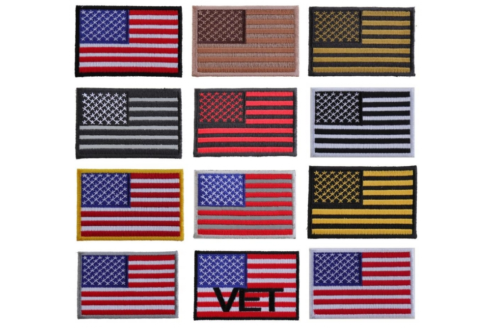 """Embroidered 2/"""" American US Flag Silver Border Sew or Iron on Patch Biker Patch"""