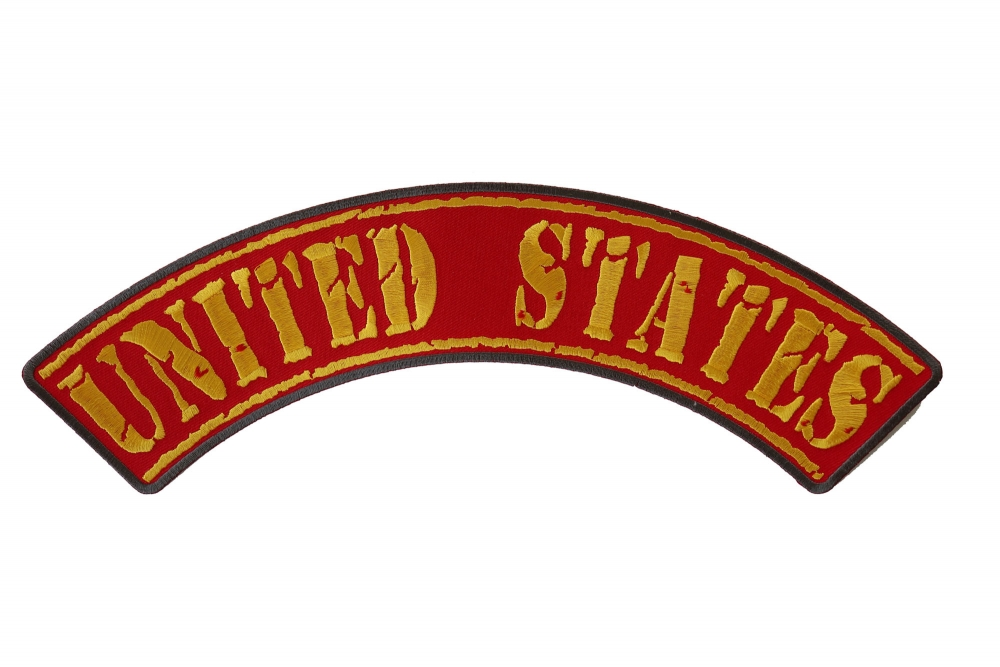 US MARINES Patch Top Rocker Embroidered Patches for Vest Jacket BIKER VETERAN