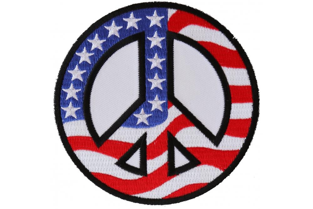 PEACE SIGN BLACK Embroidered Leather Biker Vest Patch!!