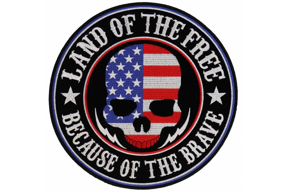 Patriotic Land Of The Free Because Of The Brave Patch FREE SHIP