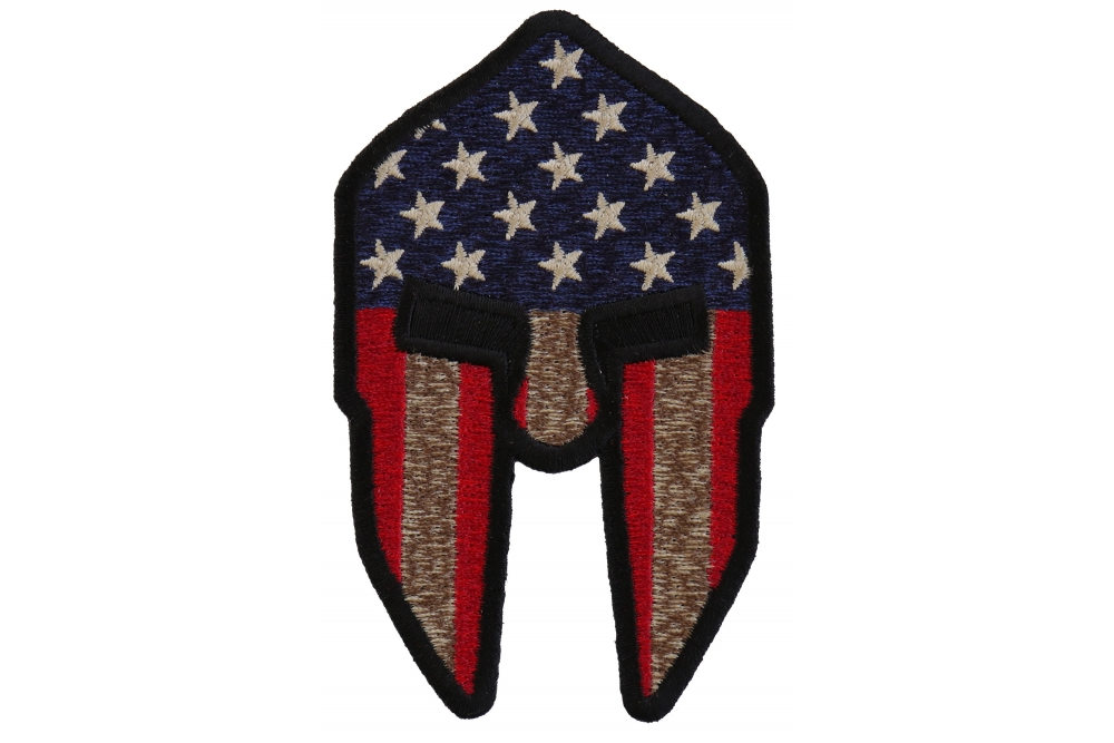 BRAND NEW SPARTAN HELMET US FLAG PATRIOTIC BIKER IRON ON PATCH
