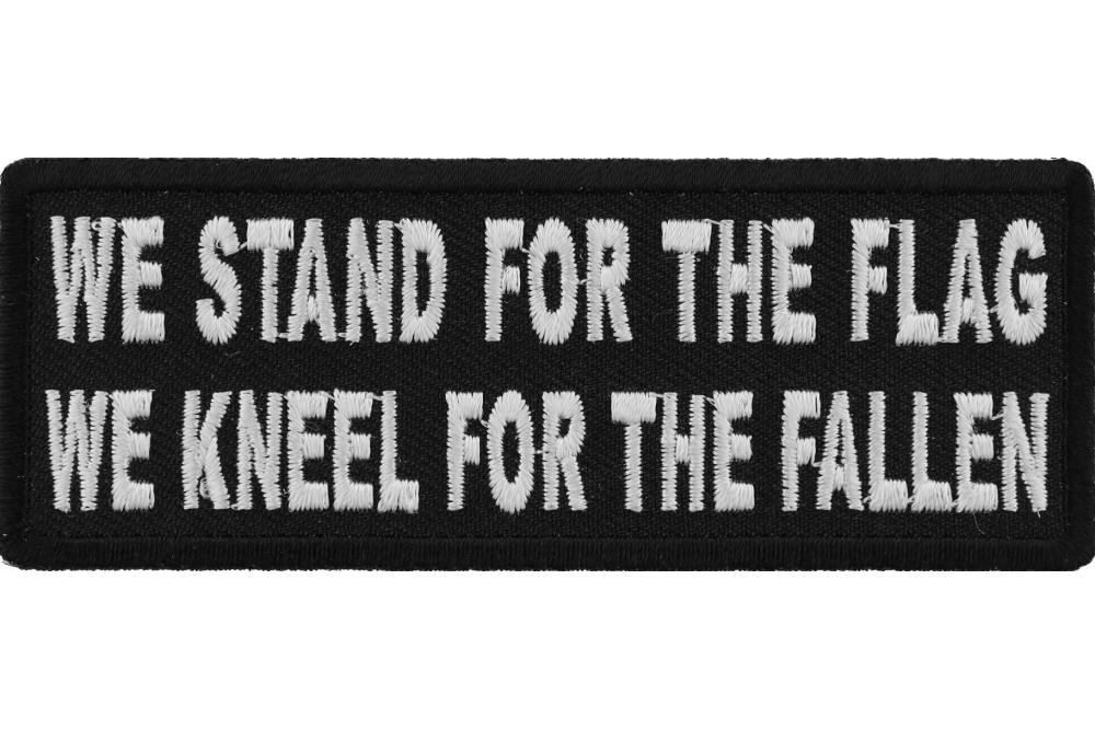 I Stand For The Flag And Kneel for The Cross Sew or Iron on Patch Biker Patch