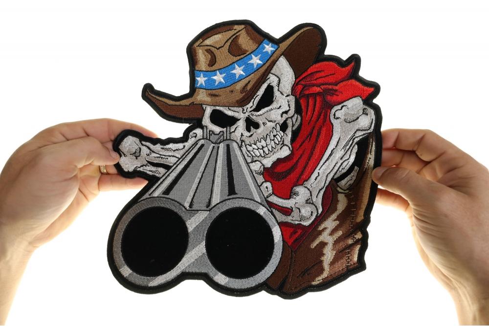 ea6d7f1a957 Shotgun Barrel Willy Skull Cowboy Large Back Patch