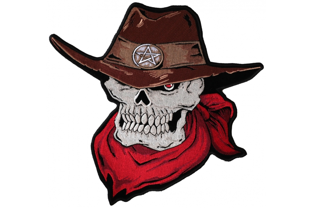 d885d9419a2 Skull Cowboy With Brown Cowboy Hat and Red Scarf Large Back Patch ...
