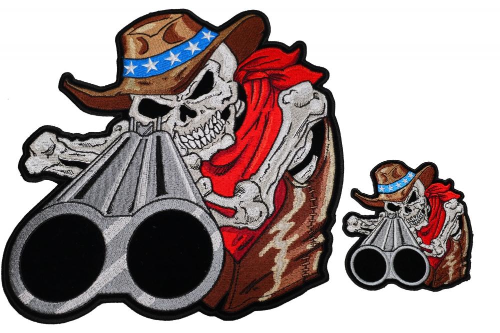 4a43b7a7f8a Shotgun Barrel Cowboy Skull 2 Piece Front and Back Patch Set